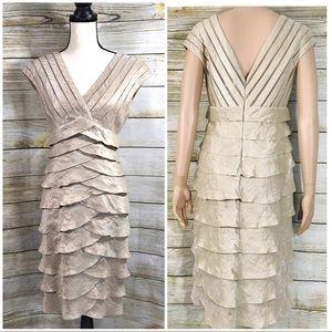 Cache Womens Champagne Metallic Sheath Dress